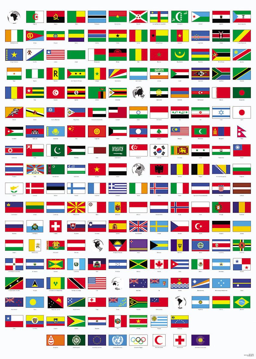 Plakat med verdens flag - Lekolar Danmark